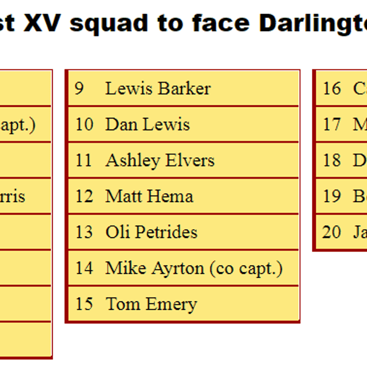 1st XV Squad to Face Darlington Mowden Park