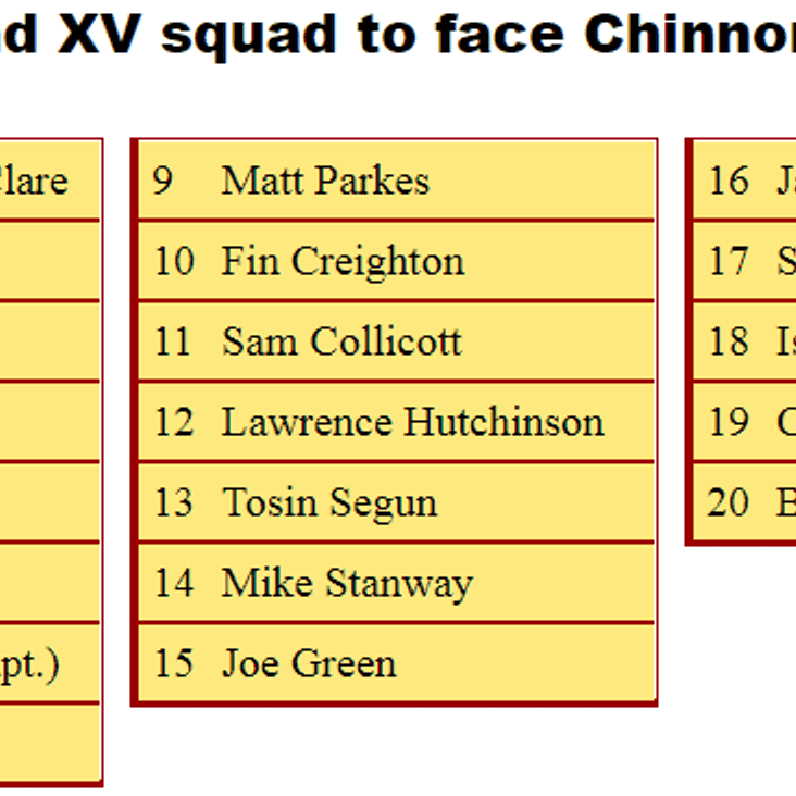 2nd XV Squad to Face Chinnor 2nds