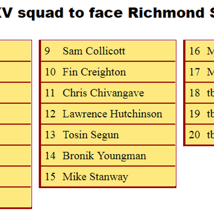 2nd XV Squad to Face Richmond Saxons