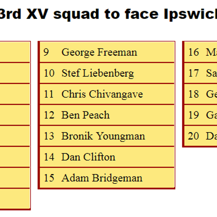 3rd XV Squad to Face Ipswich