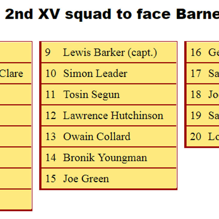 2nd XV Squad to Face Barnes