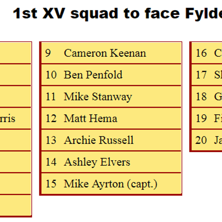 1st XV Squad to Face Fylde