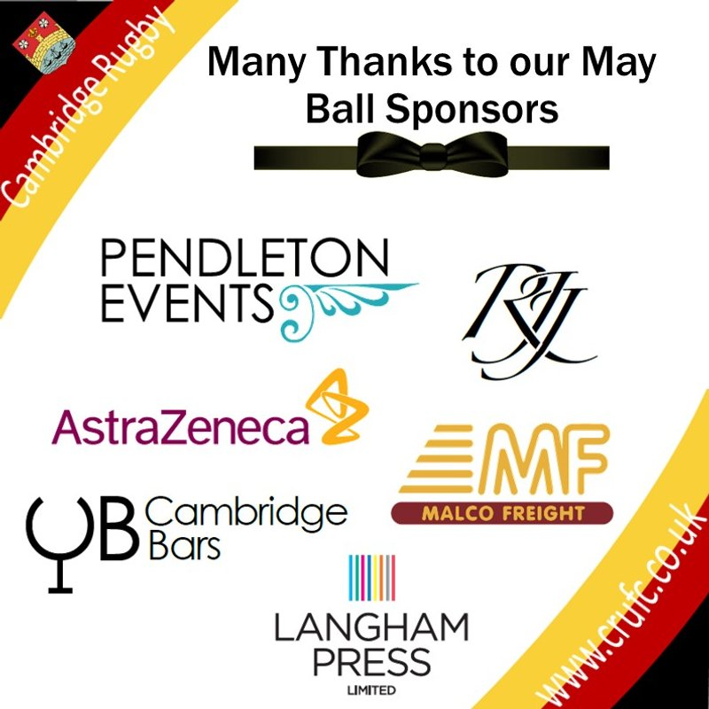 Thank-you to this Year's May Ball Sponsors