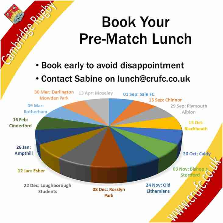 Lunch Bookings Now Being Taken