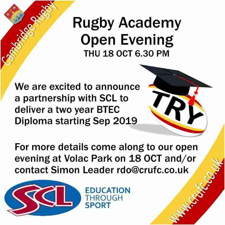 Rugby Academy Open Evening - THU 18 OCT