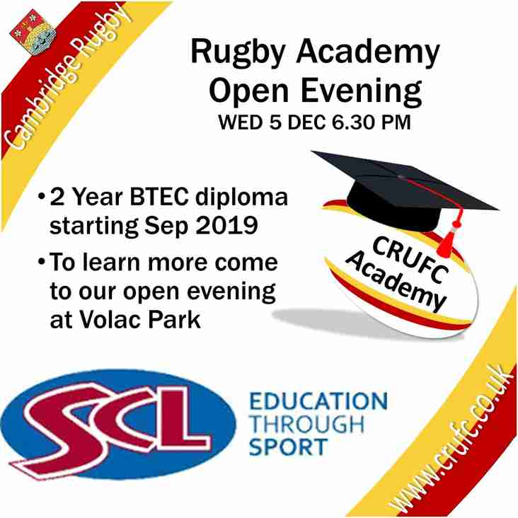 Rugby Academy Open Evening - WED 5 DEC