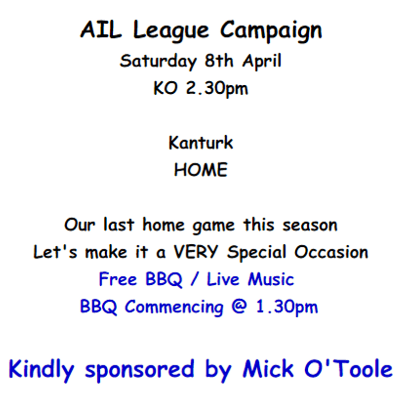 Last AIL Home Game - Free BBQ / Live Music