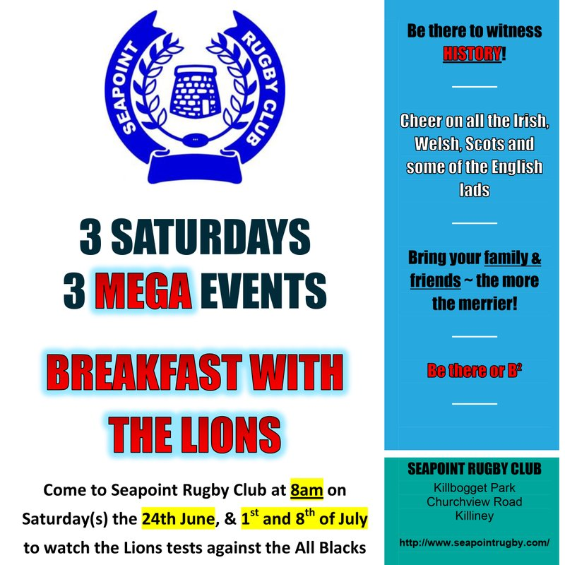 3 SATURDAYS 3 MEGA EVENTS  BREAKFAST WITH THE LIONS