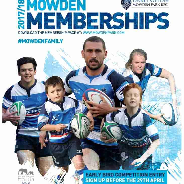 Mowden Memberships 17/18
