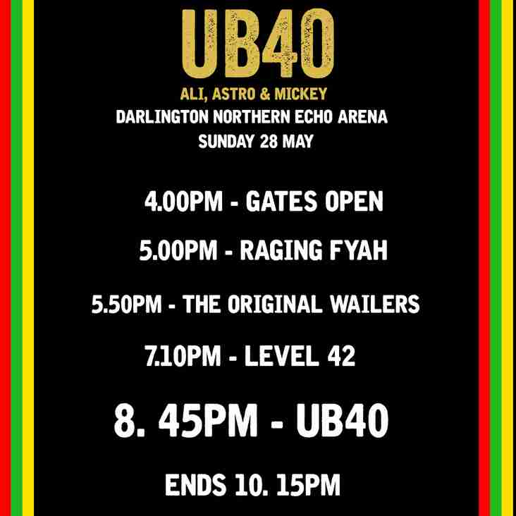 UB40 Set Times Released
