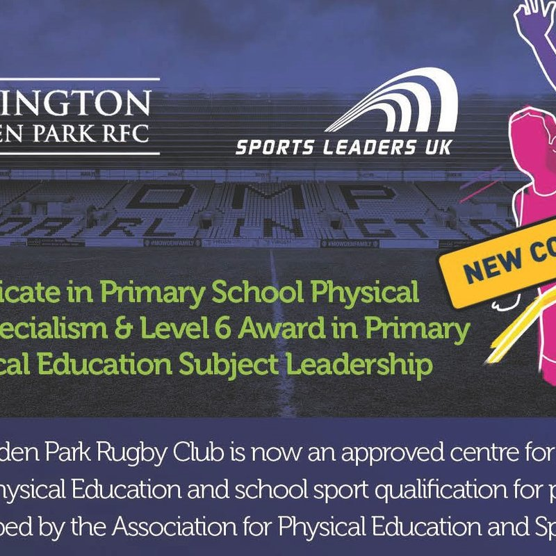 NEW COURSE FOR 2017/18 - LEVEL 5 PROFESSIONAL QUALIFICATIONS IN PRIMARY SCHOOL PHYSICAL EDUCATION SPECIALISM SUBJECT LEADERSHIP
