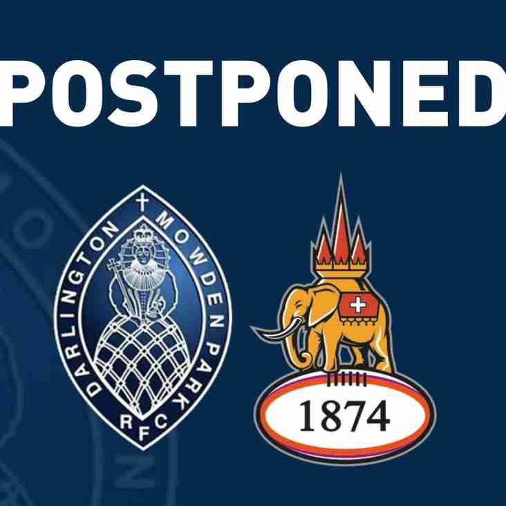 Mowden Park v Coventry Postponed