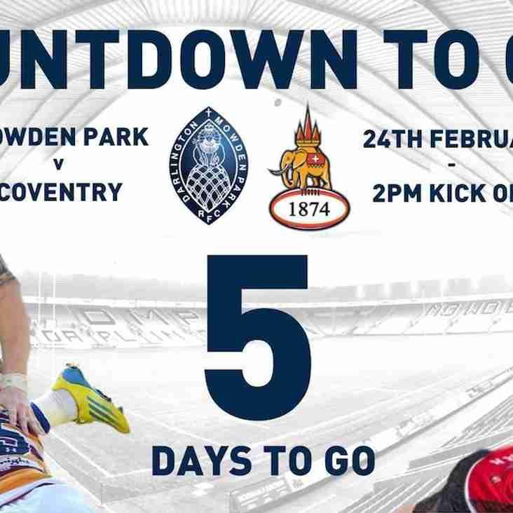 Countdown to Cov - 5 Days to Go