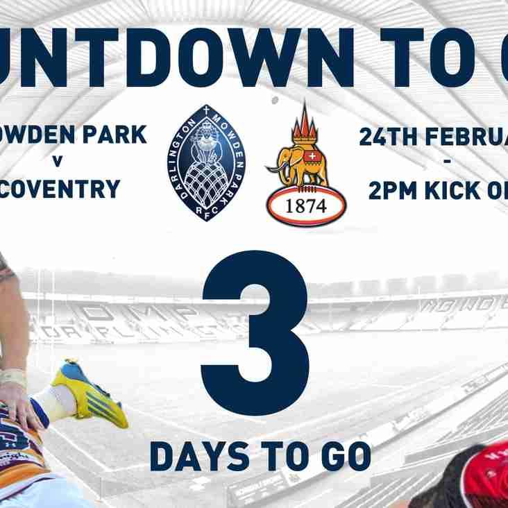 Countdown to Cov - 3 Days to Go