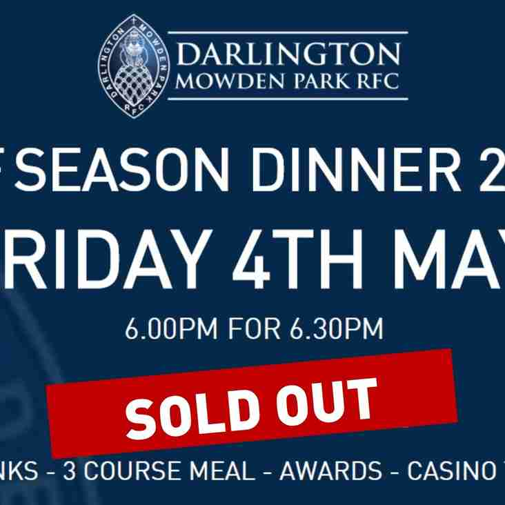 End of Season Dinner SOLD OUT