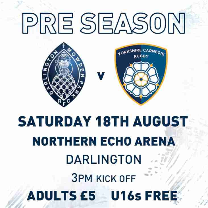 Next Home Game - Mowden Park v Yorkshire Carnegie - Saturday 18th August