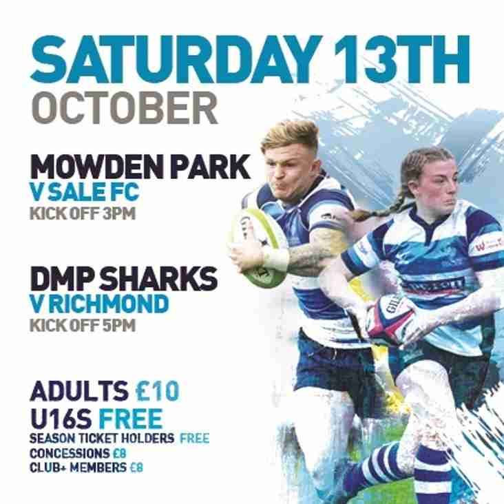 Next Home Game - Saturday 13th October