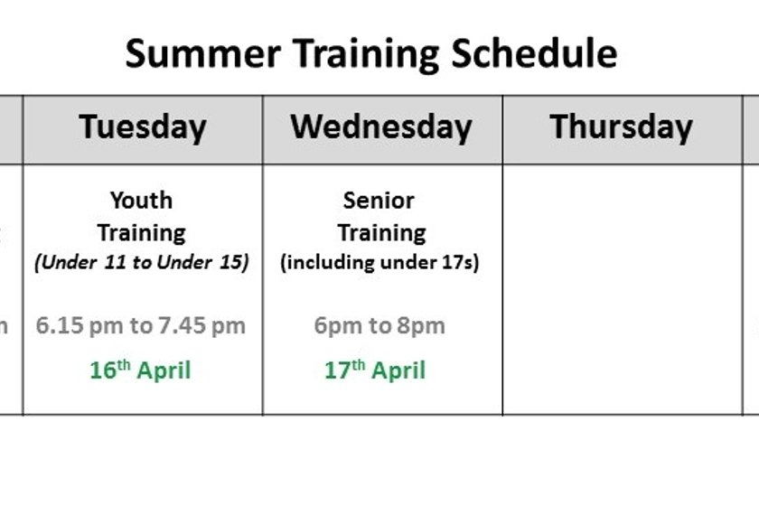 Outdoor Training Times