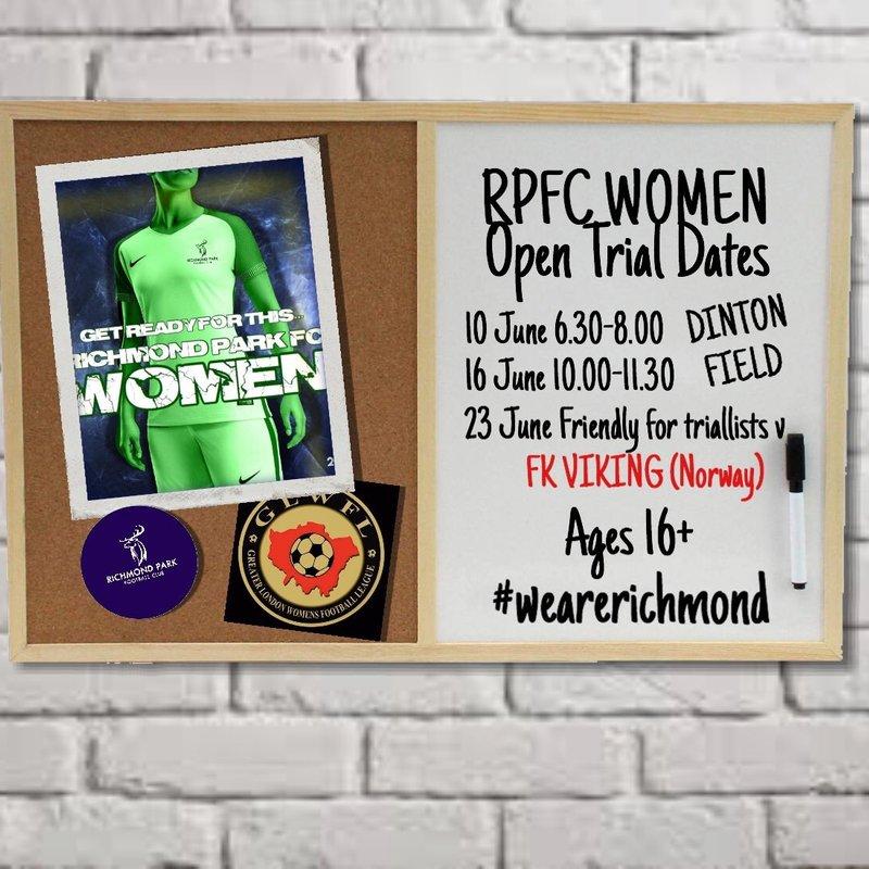 Richmond Park FC Women - Trial Dates Announced