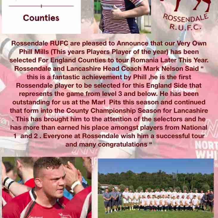 Phill Mills Selected For England Counties Tour to Romania