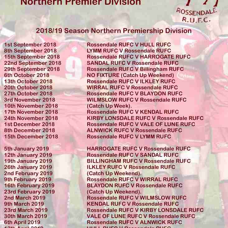 First XV Northern Premiership Fixtures Released
