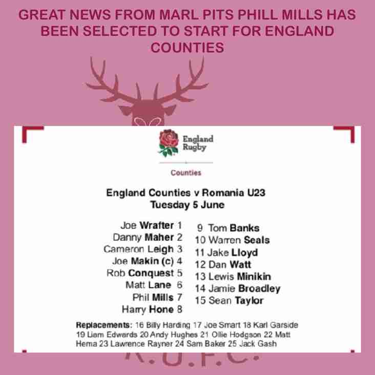 Phill Mills selected For England Counties