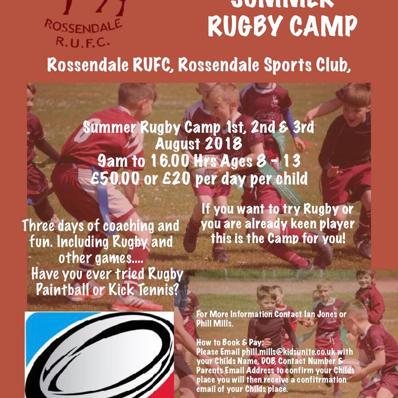 England Counties Star to Run Rossendale RUFC Summer Camp