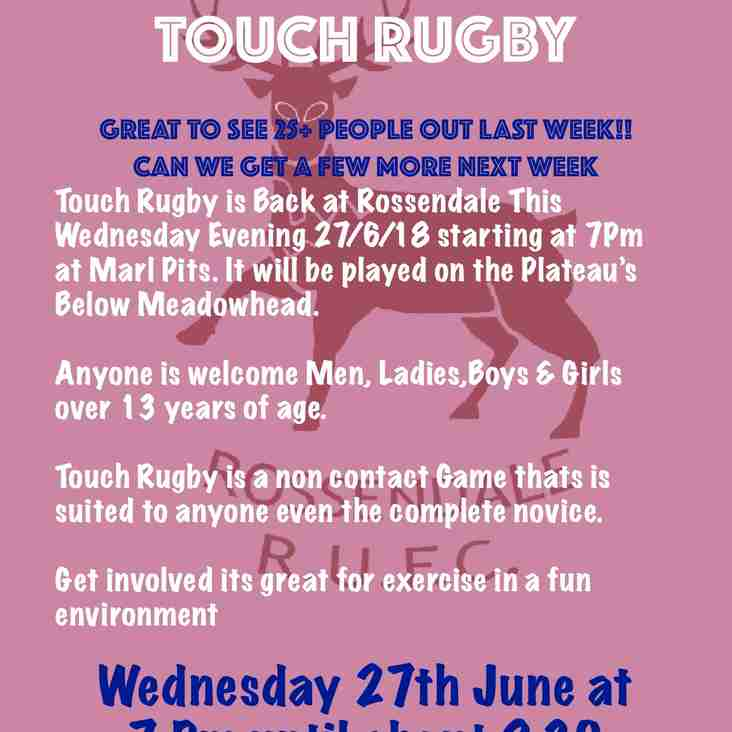 Touch Rugby On Wednesday Come and have a run out at Touch Rugby