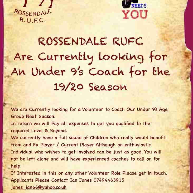 Under 9 Coach Required for 2019/20 Season
