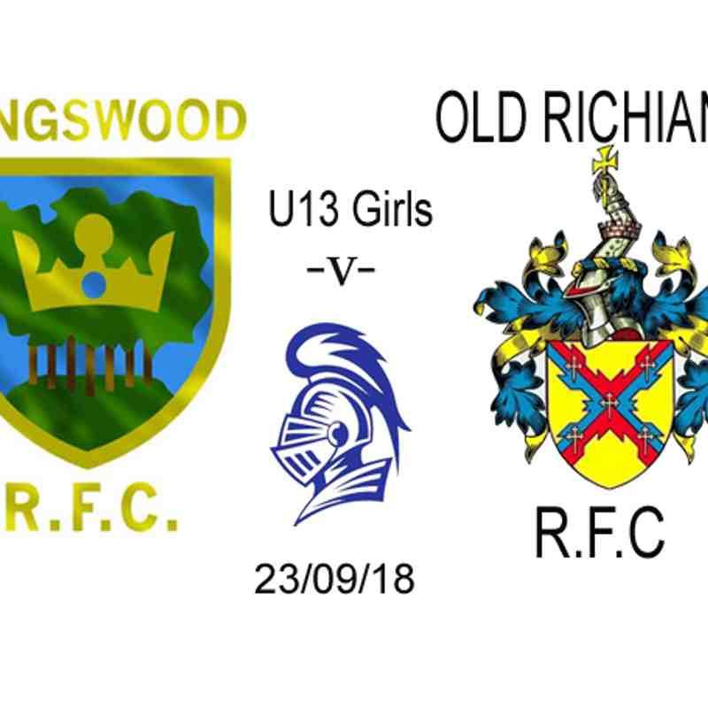 U13's Girls -v- Old Richians 23/09/18