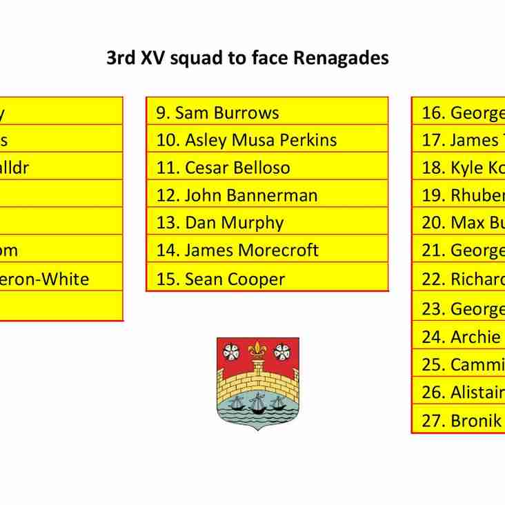 3rd XV Squad to Face Renegades