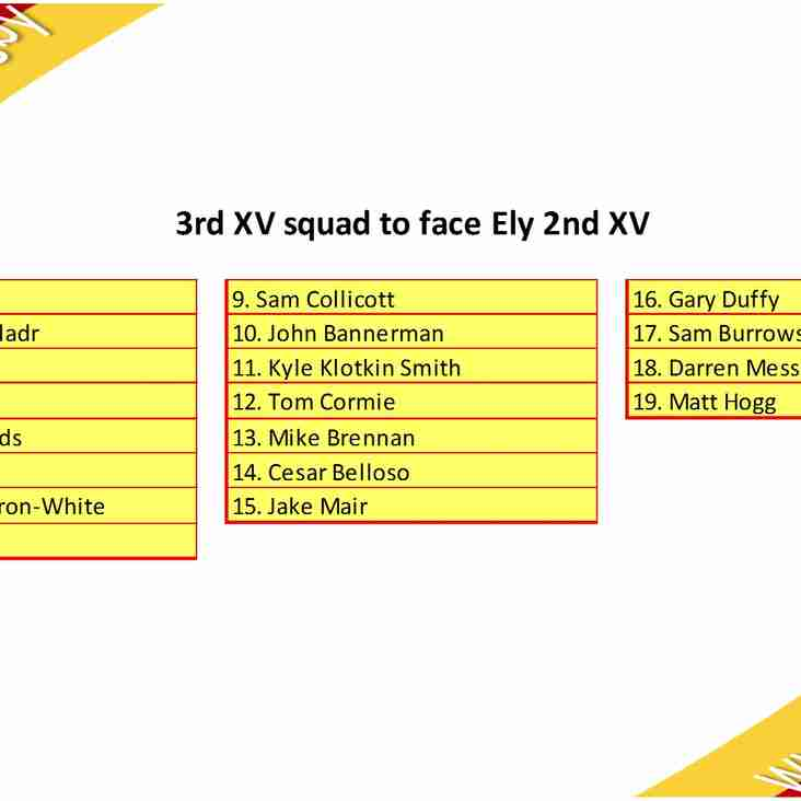 3rd XV Squad to Face Ely 2nd XV
