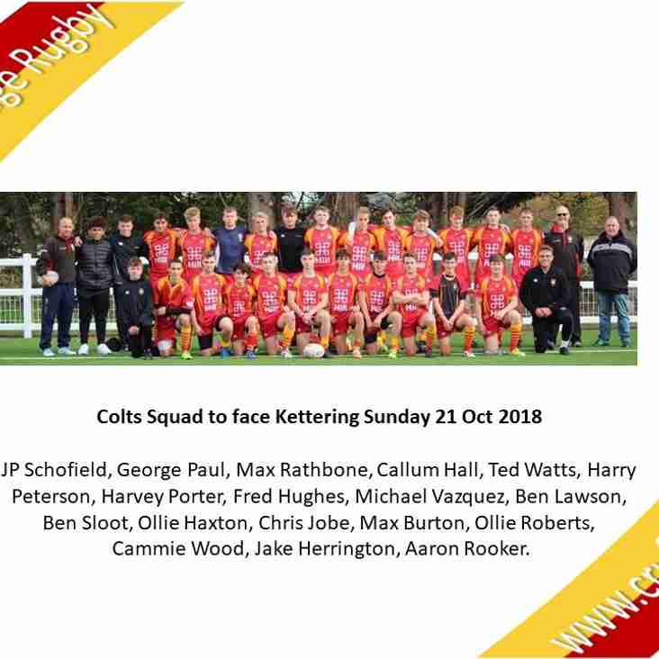 CRUFC Colts Squad to face Kettering Colts - Sunday Oct 21st 2018 - Volac Park