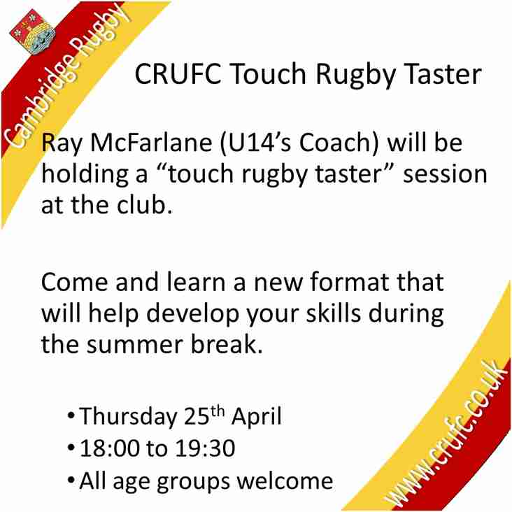 """Improve your skills - Come and try """"touch rugby"""""""