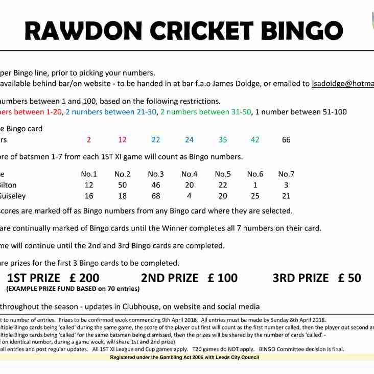 Rawdon Cricket Bingo 2018!!