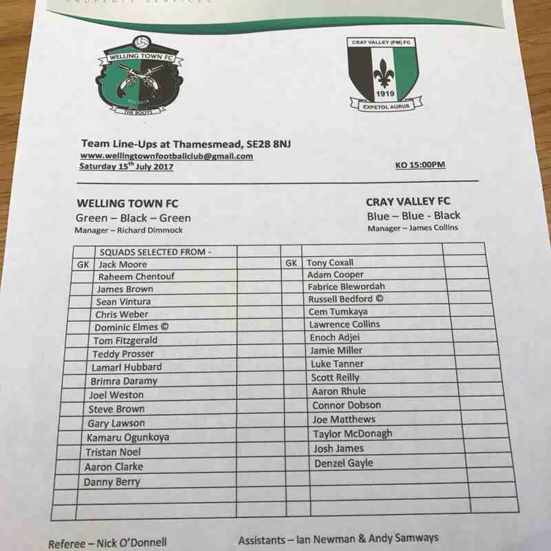 Welling Town 0-0 Cray Valley - 15/07/2017