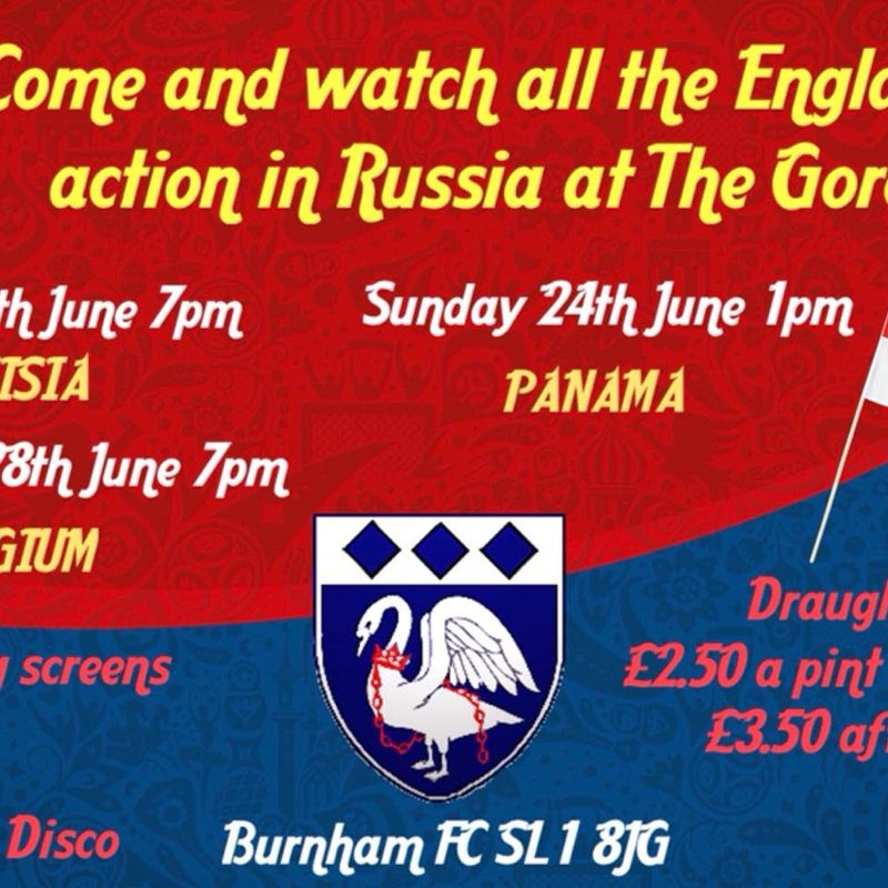 COME & WATCH ALL THE ENGLAND ACTION IN RUSSIA,  AT THE GORE