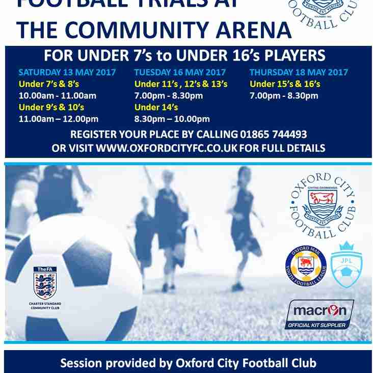 Football Trials at the Community Arena - In May 2017