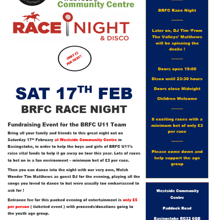 BRFC U11 FAMILY FUNDRAISING EVENING - RACE NIGHT & DISCO