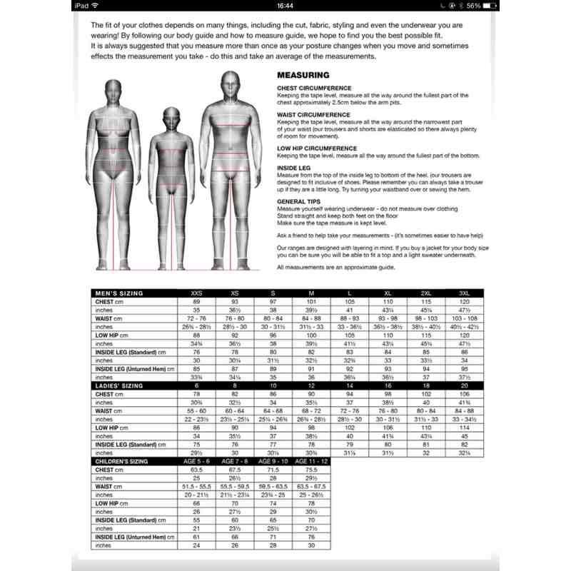Grey Nicolls Size Guide