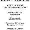 Tavern Tournament  6-A-Side @ HCC on 1st July.