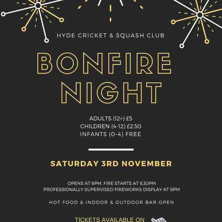 Bonfire Night at Hyde Cricket & Squash Club