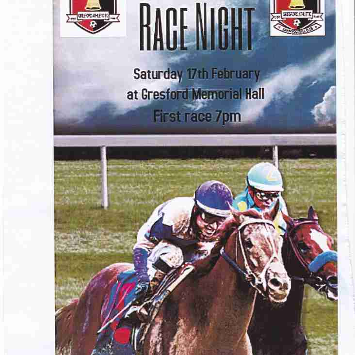 Race night at the Memorial Hall, Gresford Saturday 17th February