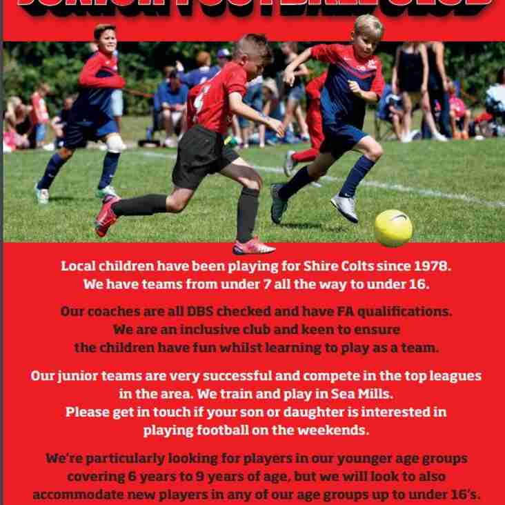 WE'RE RECRUITING NEW PLAYERS IN ALL AGE GROUPS