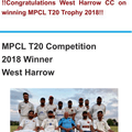 MPCL T20 Competition 2018 Winner West Harrow
