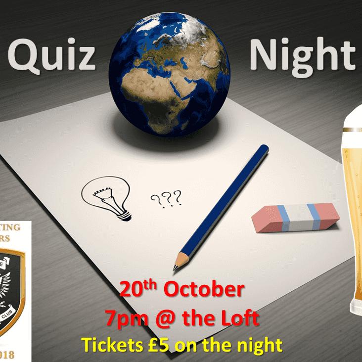 Perthshire RFC Captains' Quiz on Saturday 20th October at 7pm