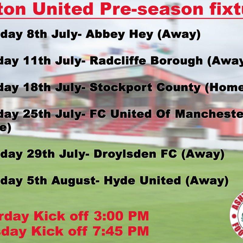 Ashton United pre-season fixtures