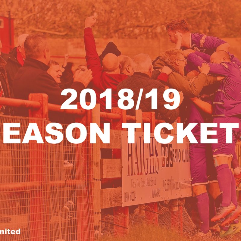 Season ticket prices 2018/19 Season