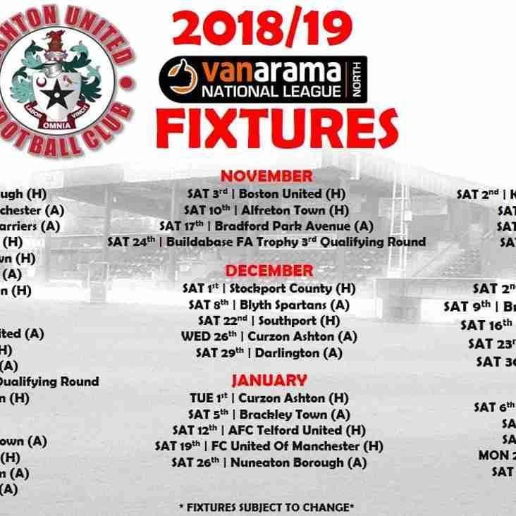 Ashton United Fixtures 2018/19