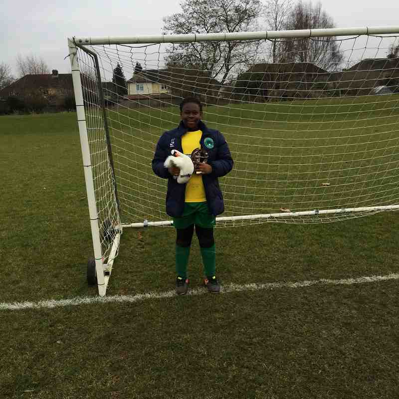Player of The Match vs Stotfold Juniors Girls 2.12.17